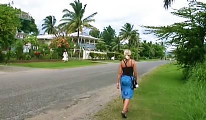 Walking down Wailoaloa Beach road, Fiji