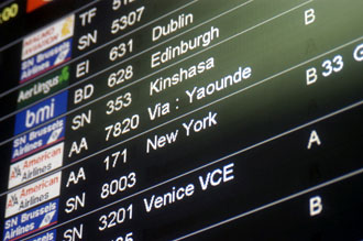 Departure sign going to New York