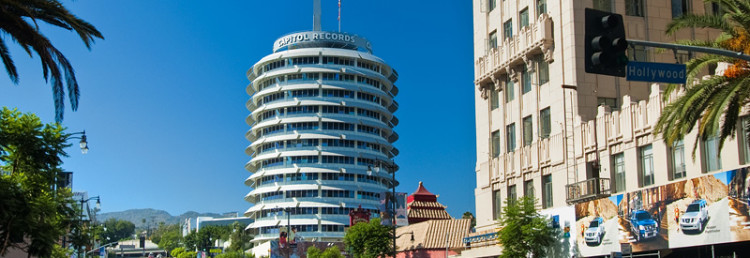 Capitol records från hörnet av Hollywood och Vine, Los Angeles