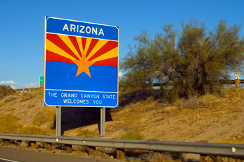 Arizona skylt, Highway, Los Angeles - Arizona