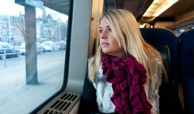 Anki på Öresundståget på väg till Kastrup