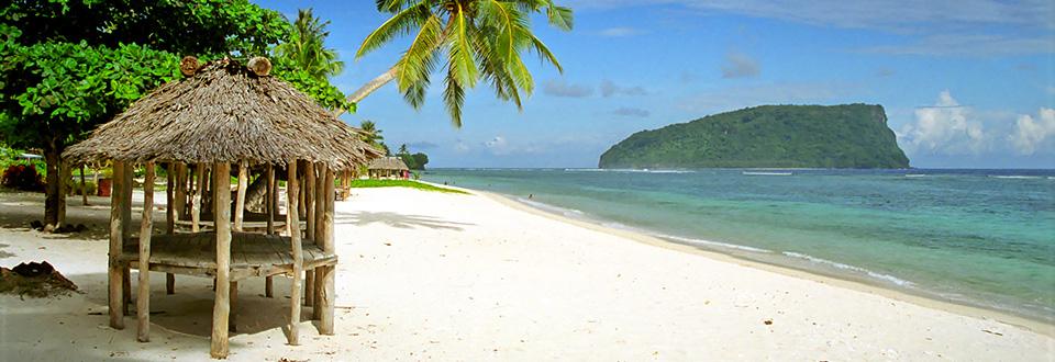Samoa, söderhavsstrand vid Lalomanu på Upolu