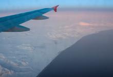 Islands östra kust från ett flygplan