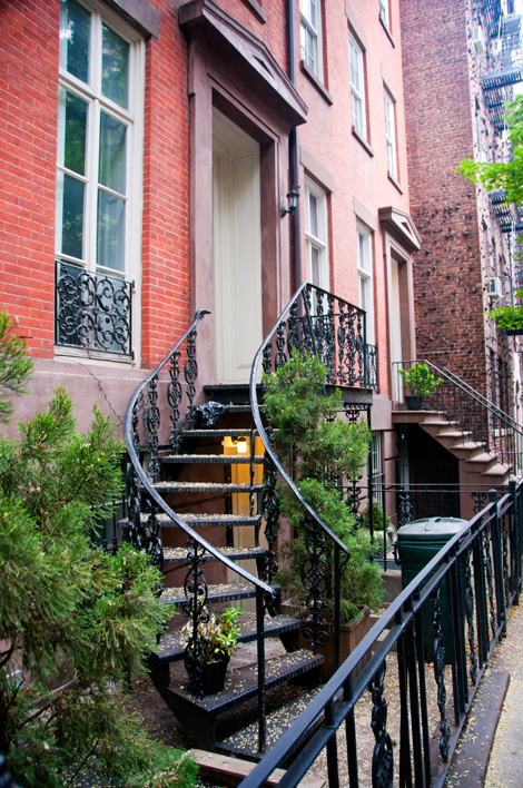 Trappa upp i bostadshus i West Village, New York City