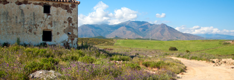 Övergivet hus i blomstrande landskap, Andalusien