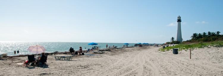 Härlig strand i Bill Baggs Cape Florida State Park, Key Biscayne, Miami
