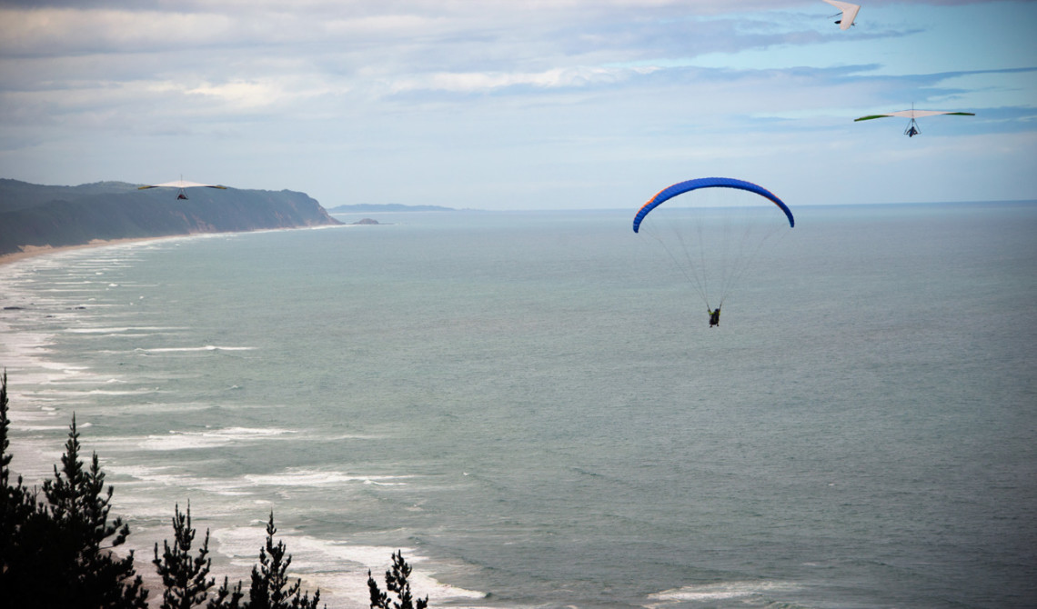 Paragliding vid Map of Africa, Wilderness, Garden Route