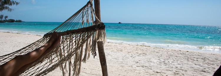 Sköna hängmattor på stranden till Manta Resort, Pemba Island, Tanzania