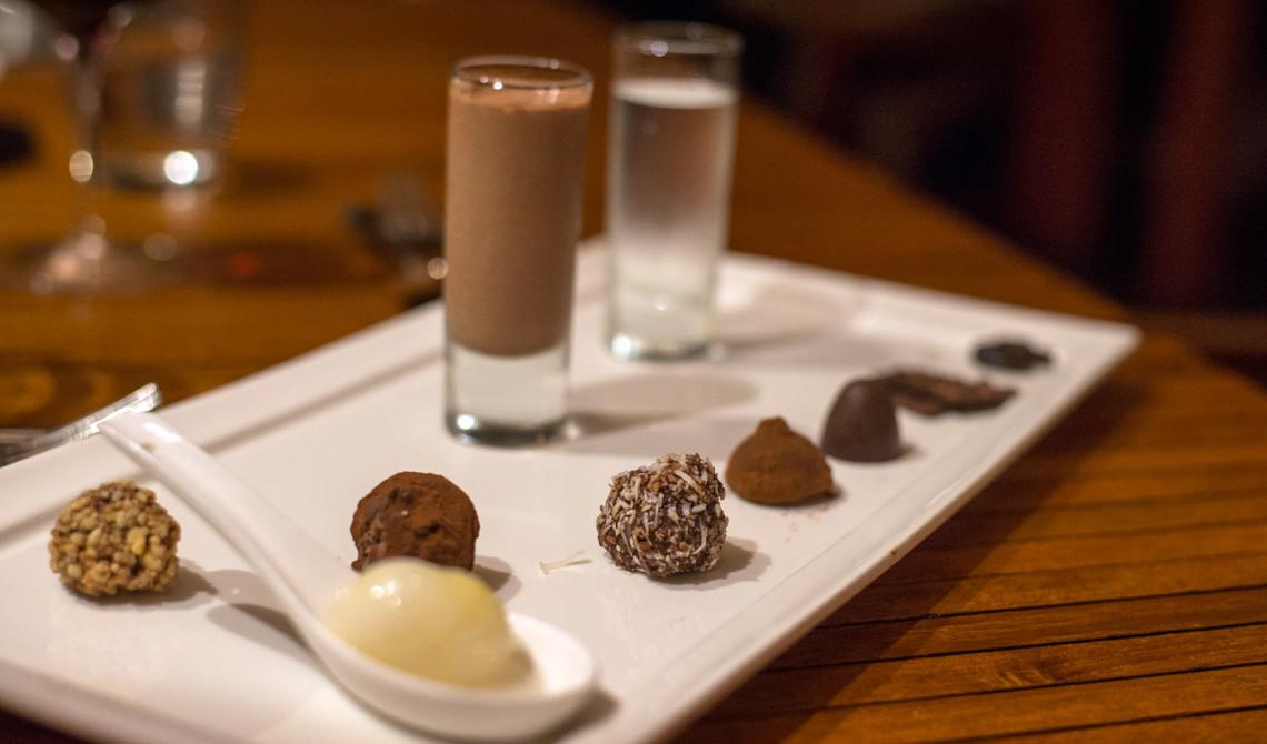Choklad och praliner på Boucan Restaurant by Hotel Chocolat, Saint Lucia