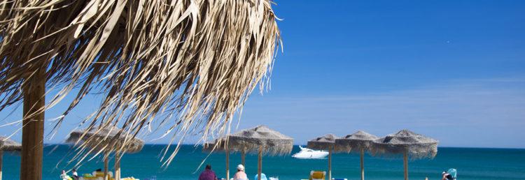 Strandvy från uteserveringen till Chiringuito Almijara