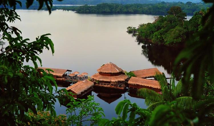 Amazon Lodge tidig morgon från trädkronorna, Amazonas Brasilien