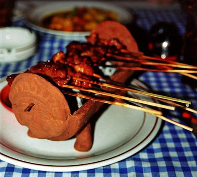 Satay Rätt på restaurang i Sanur, Bali