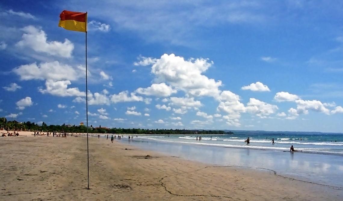 Strandflagga på Kuta Beach, Bali