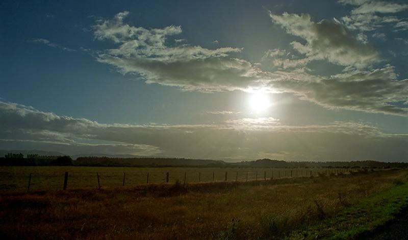 På väg mot Milford Sound vid tidig gryning