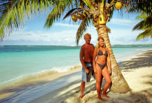 Anki och Lasse på Tanu Beach Fales, Samoa