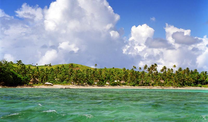 Nabua Lodge sett från havet, Yasawa Fiji