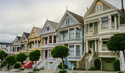The Painted Ladies, ett antal viktorianska hus i olika färger längs Steiner Street i San Francisco