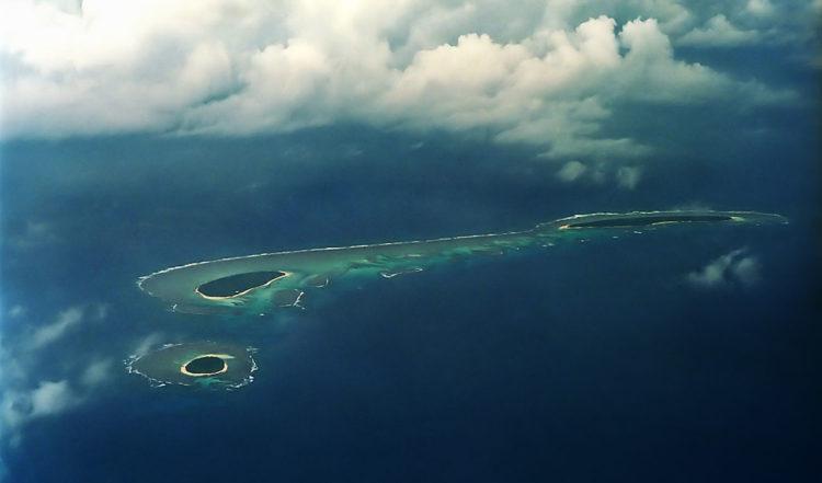 Öar från ovan i Tonga