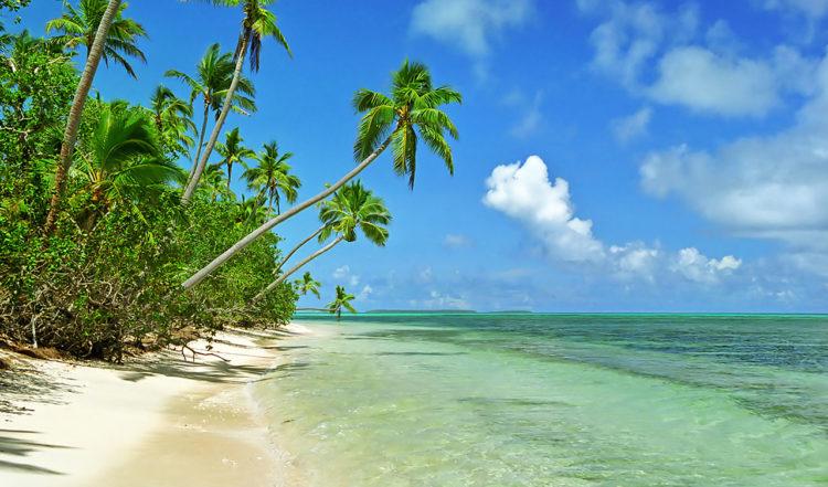 En söderhavsdröm, strand på Uiha i Tonga