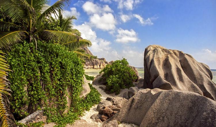 Entré till Source D'Argent stranden på La Digue, Seychellerna