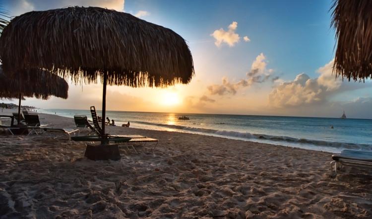 Solnedgång över Eagle Beach, Aruba
