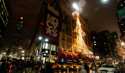 Macys New York a rainy evening