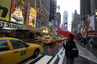Times Square i regn