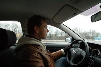 I bilen på väg till Landvetter
