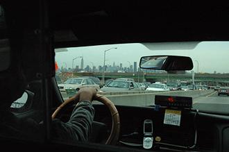 I taxi på väg in till NYC
