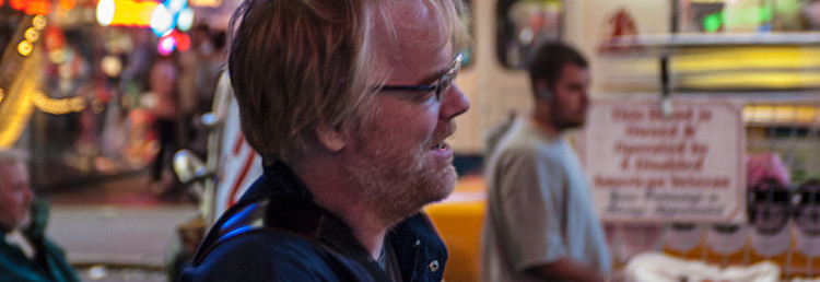 Philip Seymour Hoffman vid Times Square, New York