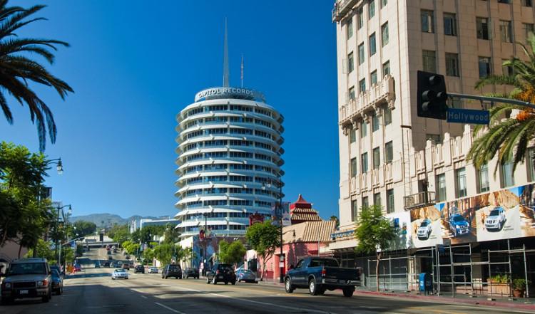 Capitol records från hörnet av Hollywood och Vine, Los Angeles