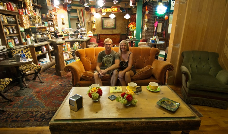 We at the Friends couch at Central Perk. Gunther seems to have taken off. Warner Brothers VIP Tour, Los Angeles