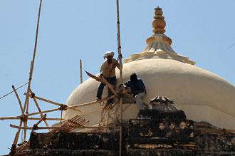 Byggarbetare på höga höjder, Amber Fort