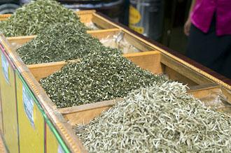 Teförsäljning bland Dazhalan hutonger i Beijing