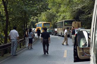 Bussresa upp mot Emei berget