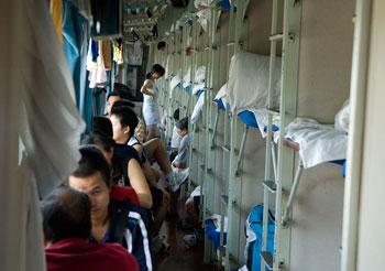 Hardsleeper, tåg mellan Chengdu och Yangshuo