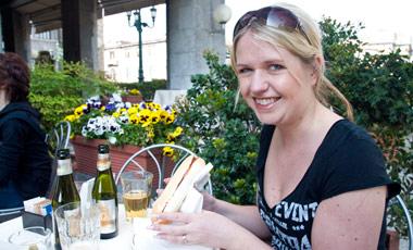 Anki på Caffe del Colleoni, Citta bassa, Bergamo