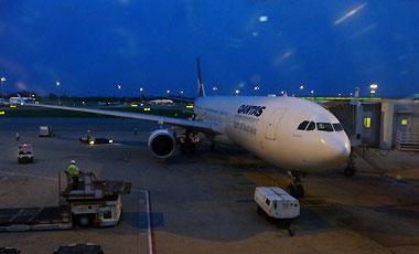 Qantas flygplan på Singapore flygplats