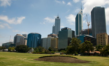 Perth skyline sett från Bell Tower