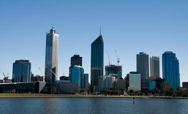 Perth city sett från färjan Rottnest Express