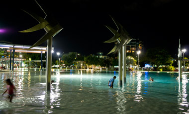 The lagoon by night, Esplanade, Cairns