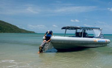 Tillbaka vid stranden efter sortkeltur med Ocean Safari Tour