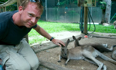 Lasse klappar kängeru, Kuranda Koala Gardens