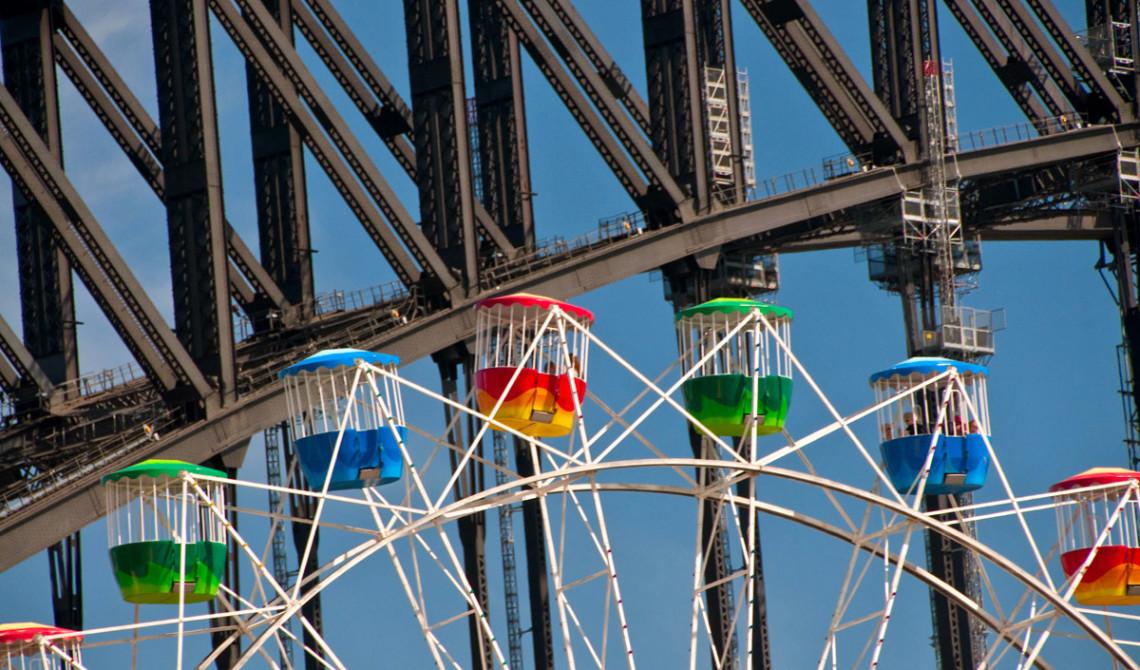 Pariserhjul på Luna Park med Sydney Harbour Bridge i bakgrunden