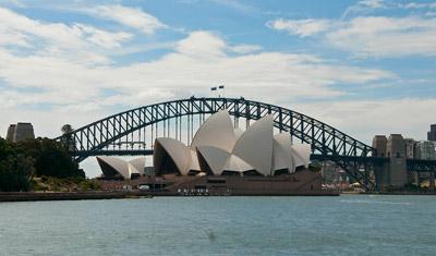 Sydney Opera House, sett från Royal Botanic Garden, Sydney