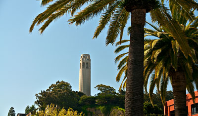 Coit tower, Russian Hill, i San Francisco