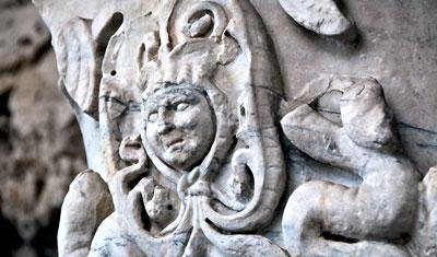 Detaljbild, inne på Colosseum, Rom