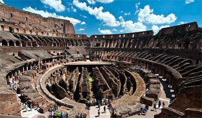 Vy över Colosseum från norra sidan av Colosseum, Rom