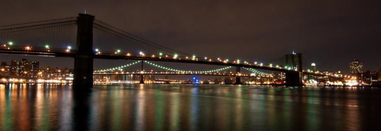 New York City by Brooklyn Bridge, USA