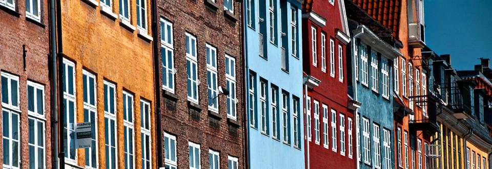Danmark, hus i Nyhavn Köpenhamn